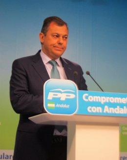 El secretario general del PP-A, José Luis Sanz, hoy en Sevilla