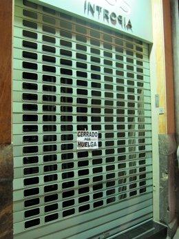 Una Tienda En Murcia. Huelga General. 29M