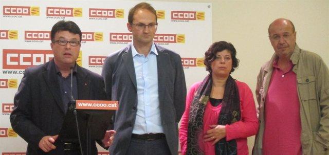 Joan Josep Nuet (EUiA), Joan Herrera, Laura Massana (ICV) y Joan Carles Gallego
