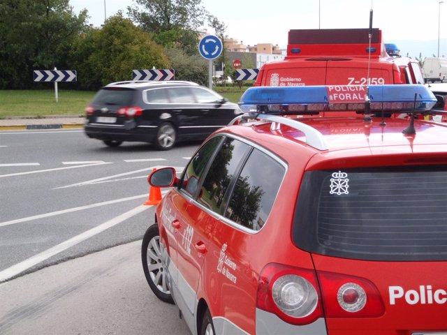 Control de tráfico de la Policía Foral.