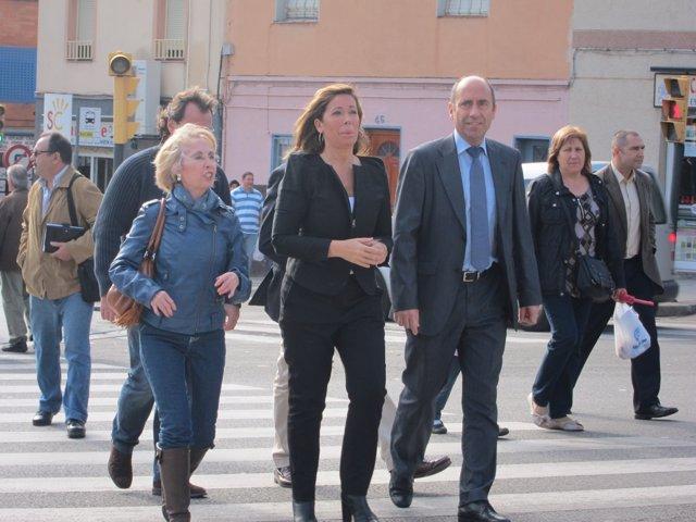Alicia Sánchez Camacho junto a los concejales del PP en Santa Coloma de Gramenet