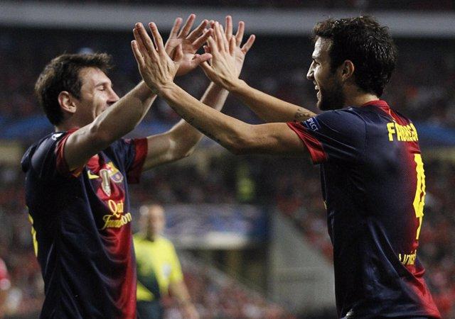 Leo Messi y Cesc Fábregas en el Benfica - Barcelona