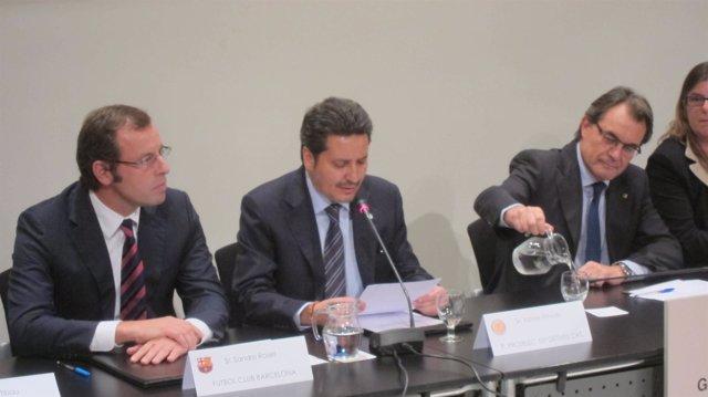 S.Rosell (FCB), X.Vinyals (ProSelecciones) y A.Mas