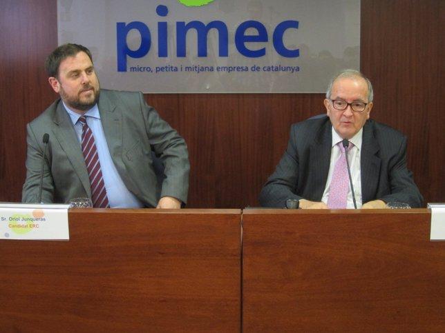 El presidente de ERC, Oriol Junqueras, y el de Pimec, Josep González