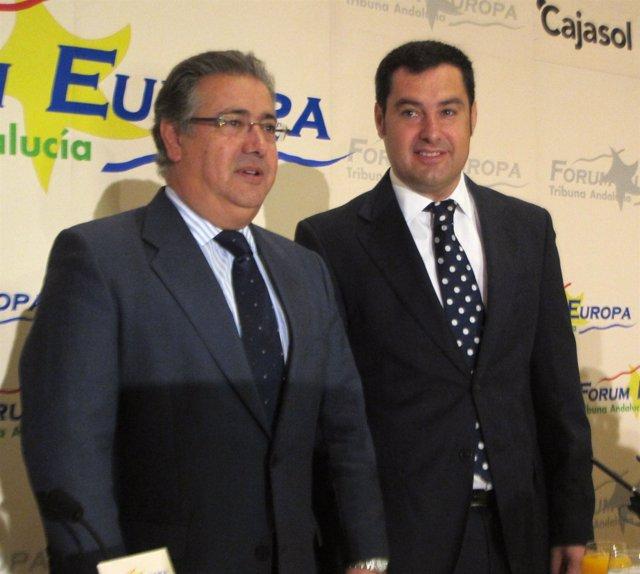 Juan Ignacio Zoido y Juanma Moreno en el Fórum Europa
