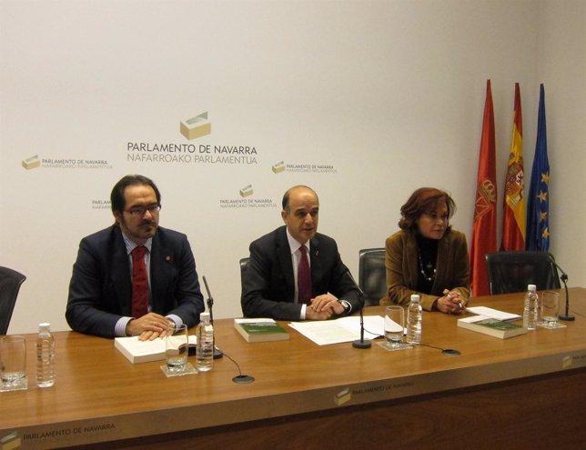 José Francisco Alenza (i), Alberto Catalán y Claudia Storini.