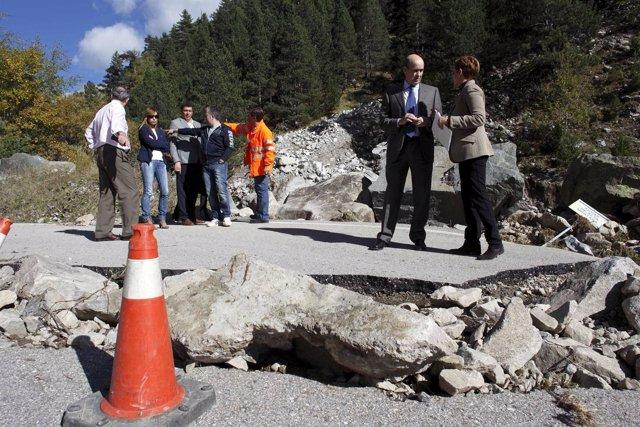 Las fuertes lluvias causaron numerosos destrozos en carreteras