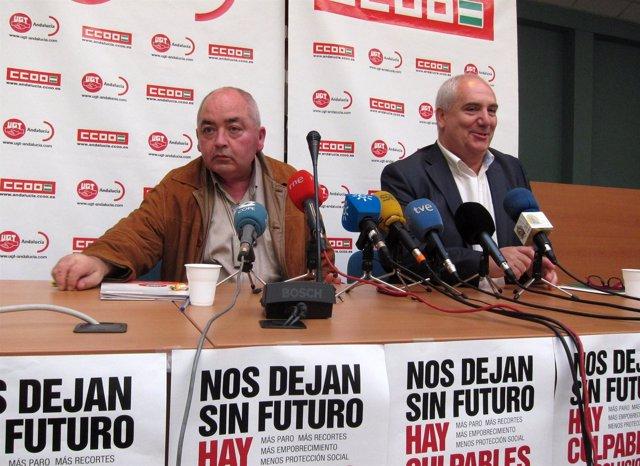 Manuel Pastrana (UGT-A) y Francisco Carbonero (CCOO-A), en rueda de prensa.