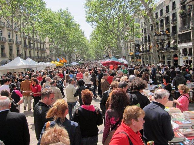 La Rambla, Paradas, Sant Jordi, Gente, Multitud