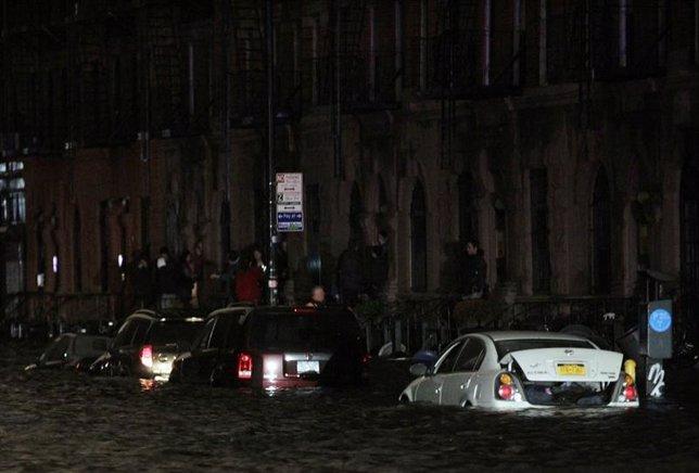 Efectos del huracán Sandy a su paso por la costa e