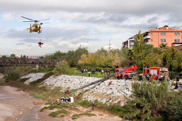 Simulacro de inundaciones en el Vallès