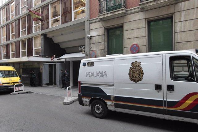 Furgón policial en la Audiencia Nacional