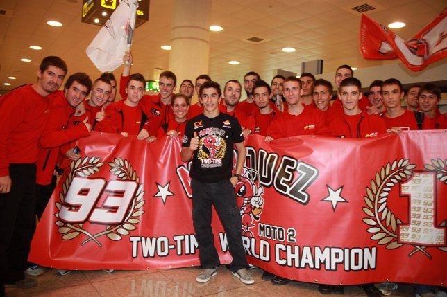 Marc Márquez, campeón de Moto2 recibido en el Aeropuerto de Barcelona