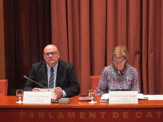 L.M.Corominas y N.De Gispert en la diputación permanente del Parlament
