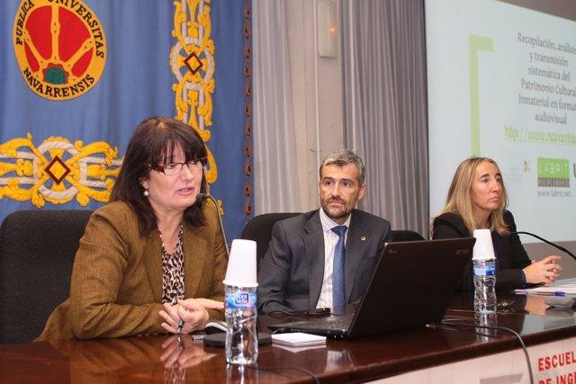 María Pía Timón (i), Alfonso Carlosena y Susana Irigaray