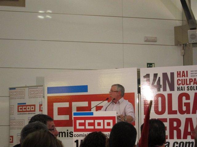 Fernández Toxo durante una asamblea de delegados de CC.OO. En Santiago