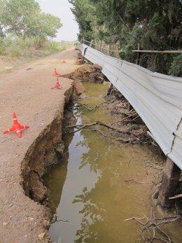Camino afectado por una riada