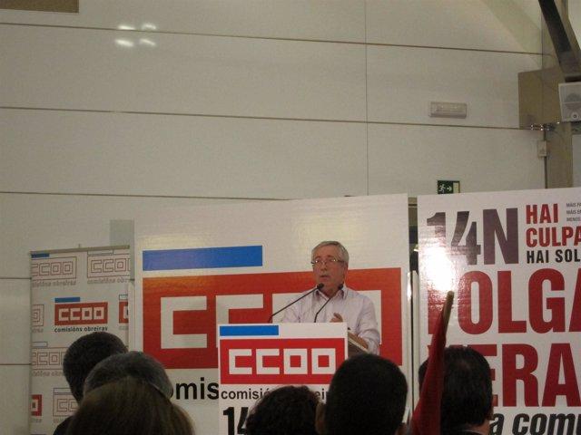 El secretario general de CC.OO., I.Fernández Toxo, en un acto previo al 14N