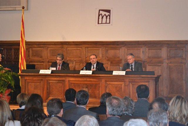 Portavoz del Govern, F.Homs; pte Diputación Lleida, J.Reñé y dtor IEI JM Solé