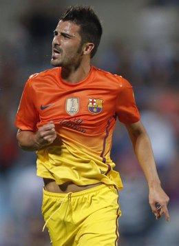 David Villa celebra el primer gol ante el Alavés