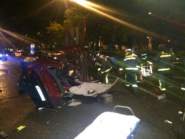 Accidente en el Paseo de la Castellana con cinco heridos, dos de ellos graves