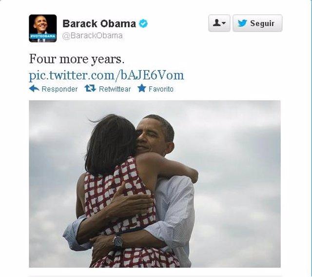 Tuit reelección Barack Obama