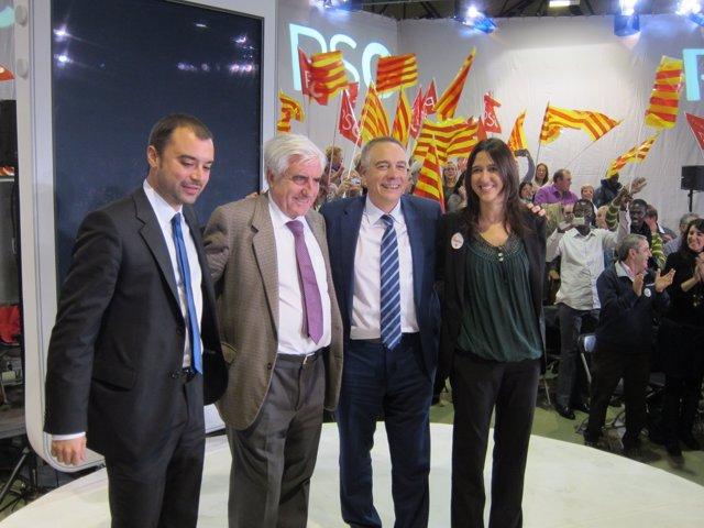 Jordi Ballart (PSC), periodista Enric Sopena, Pere Navarro, Núria Parlon (PSC)