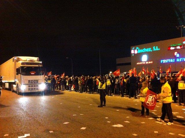 Seguimiento de la huelga general en Mercamadrid