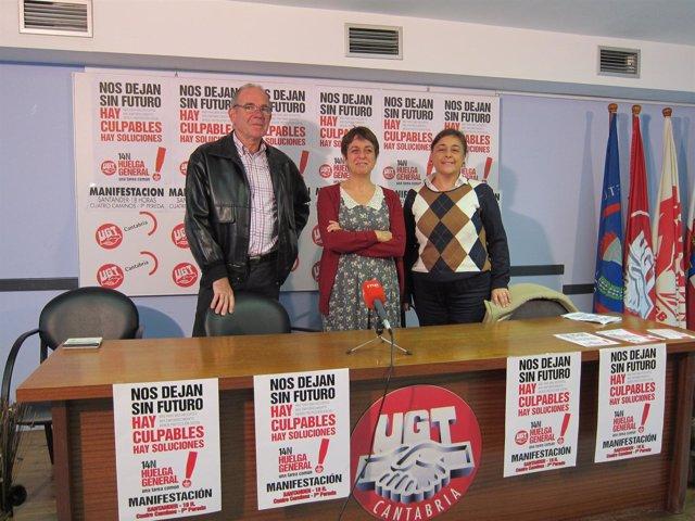 Los líderes de CC.OO, UGT y USO en Cantabria