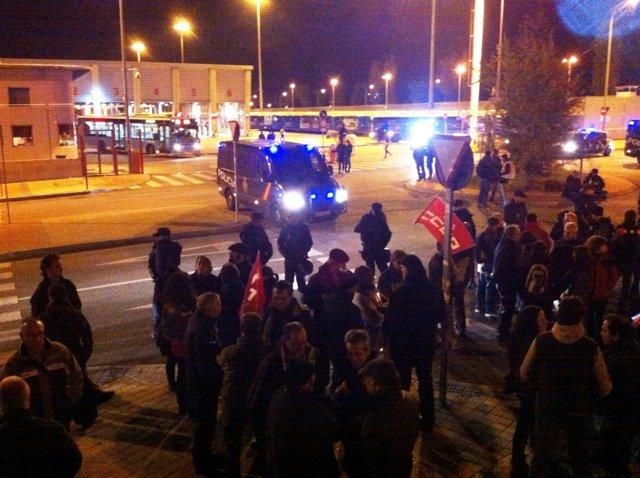 Cocheras de la EMT en Carabanchel en el 14N
