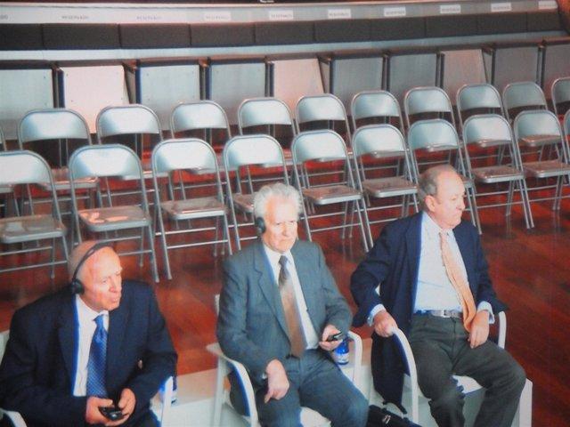 Los tres acusados en el juicio del Prestige