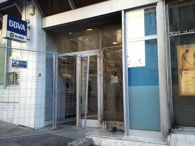 Cajero dañado en Ferrol durante la huelga
