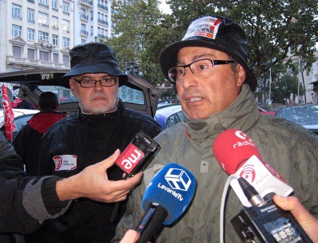 Paco Molina (CCOO PV) Y Conrado Hernández (UGT-PV) Atienden A Los Medios El 14N.