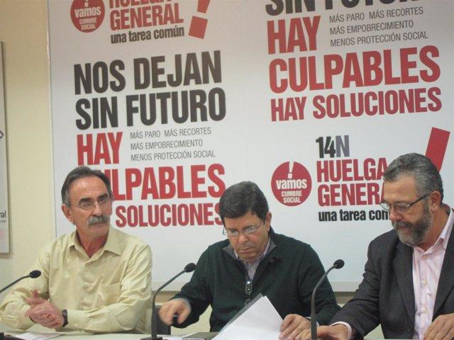 Javier Cubillo (UGT) y Antonio del Campo (CC.OO) informan sobre la huelga