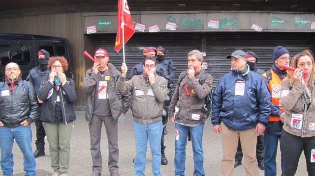Piquetes en el Corte Inglés de Barcelona el 14N del 2012
