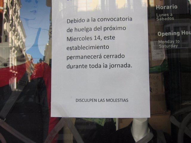 Jornada de huelga general 14N, comercio cerrado