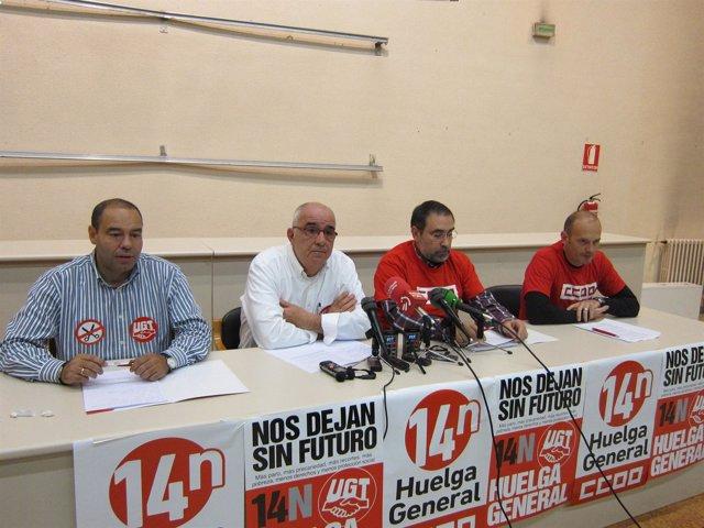 Rueda de prensa de UGT y CCOO en la jornada de huelga general del 14N.