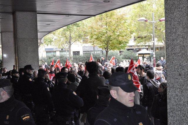 Piquete sindical en El Corte Inglés del Paseo Sagasta de Zaragoza.