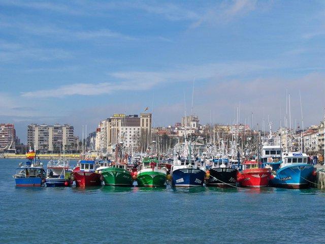 Barcos pesqueros cántabros en la Bahía de Santander
