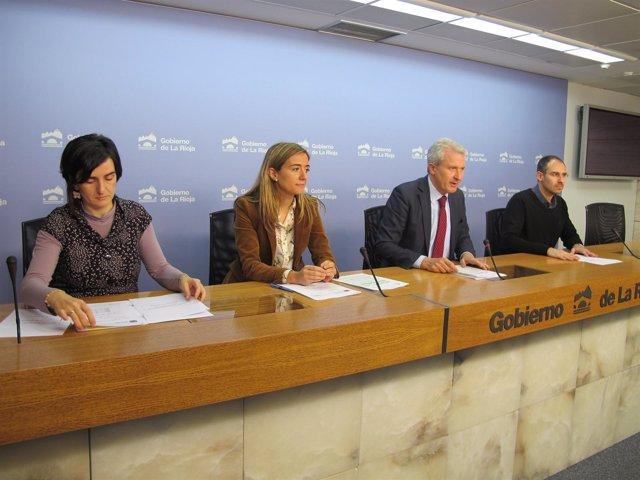 Del Río, Maiso y los responsables de Pioneros, en la rueda de prensa