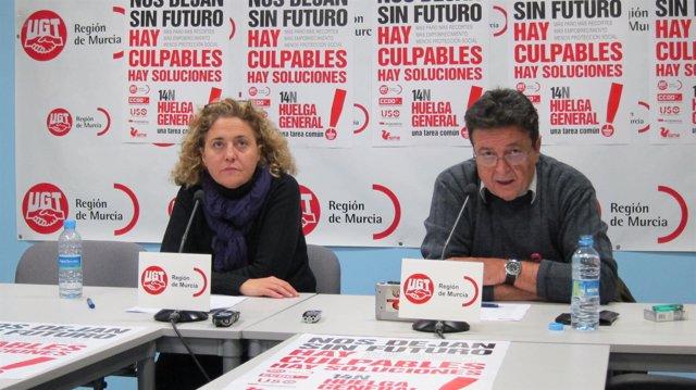 Matilde Candel (UGT) y Julio Mamblona (CCOO) ofrecen datos seguimiento huelga