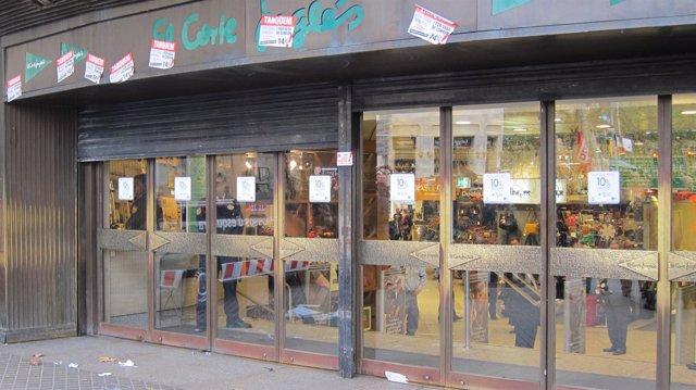 Corte Inglés Barcelona abriendo puertas 14N del 2012