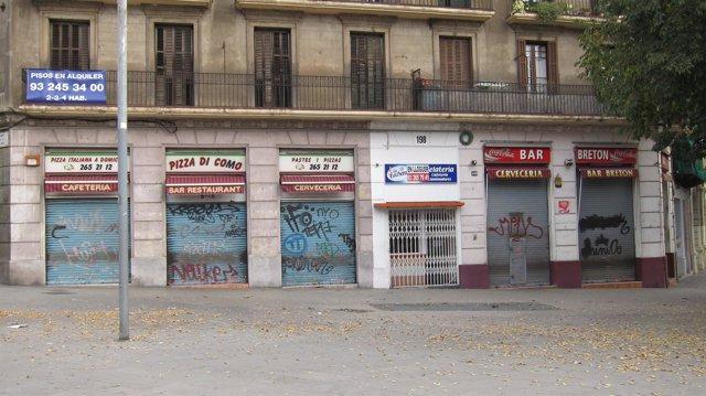 Comercios cerrados por huelga general en Barcelona 14N del 2012