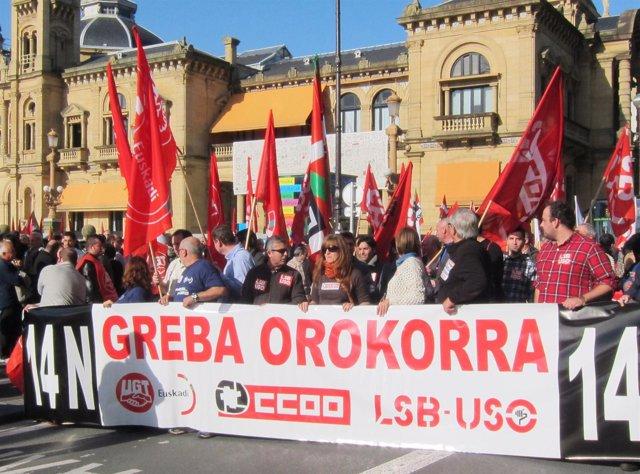 Manifestación de UGT, CCOO y LSB-USO.