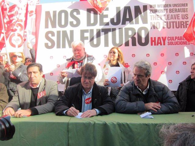 Líderes de USO, CCOO y UGT de Madrid