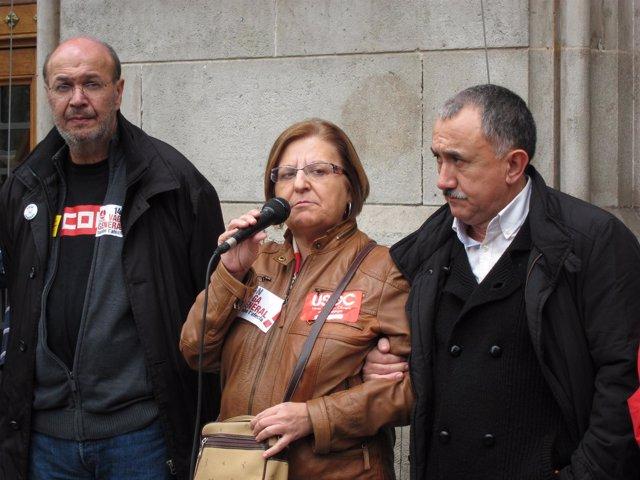 Los secr.Grales de CC.OO., Usoc y UGT de Catalunya