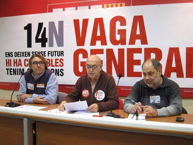 Los representantes sindicales en la rueda de prensa sobre datos del 14N