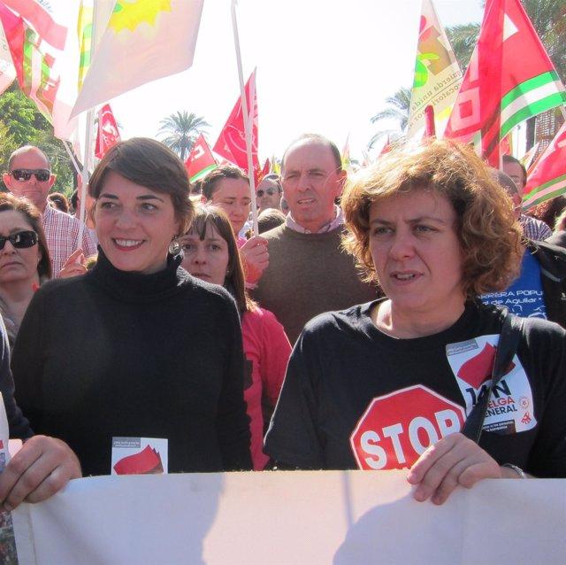 Doblas (dcha.) junto a Cortés en la manifestación
