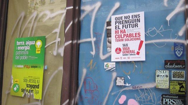 Carteles huelga general Barcelona 14N del 2012