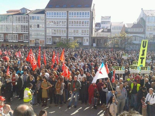 Manifestación en Ferrol por la huelga del 14-N